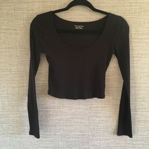 Urban Outfitters Black Crop Top Long Sleeve S